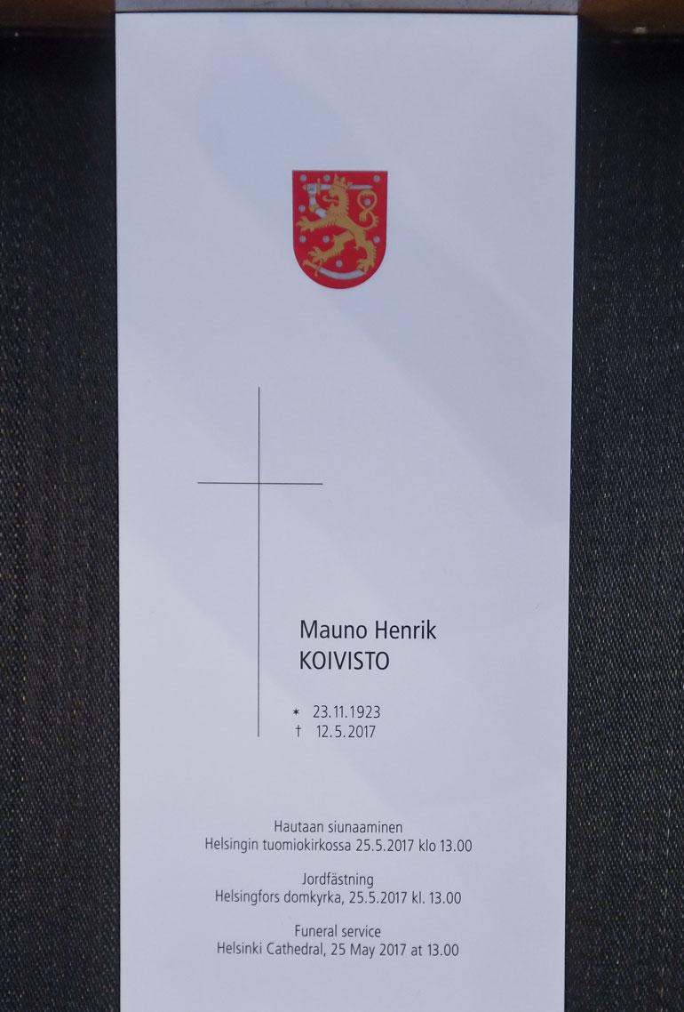 Mauno Koivisto hautajaiset ohjelma moka
