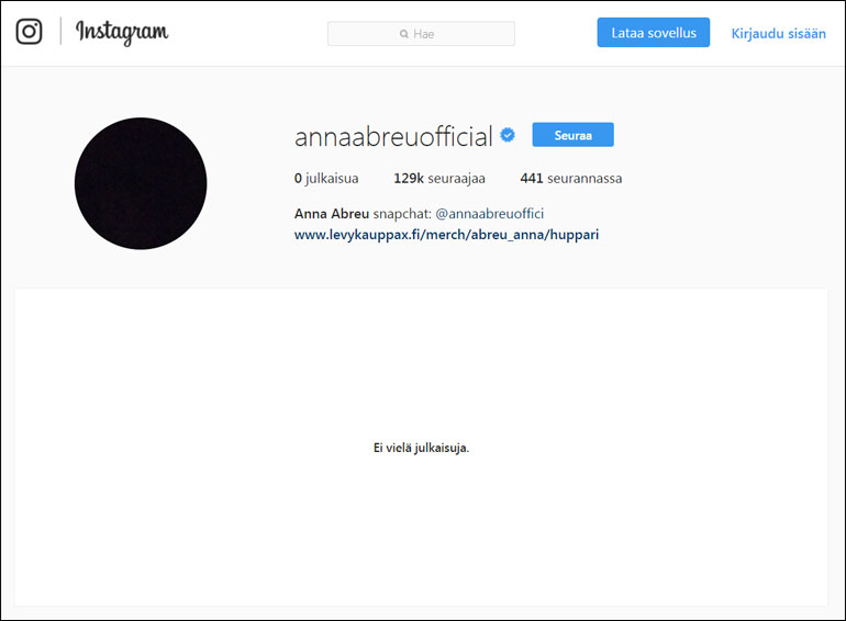 Anna Abreun Instagram-profiili