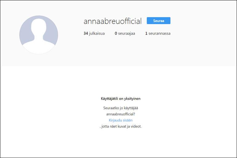 Anna Abreu poisti Instagram-tilinsä