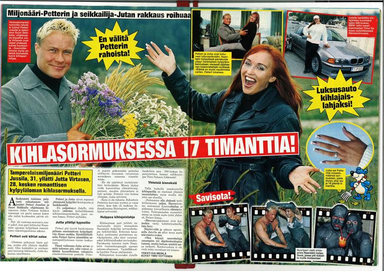 SEISKA 40/2001 Jutan kosinnan jälkeen Petteri osti kullalleen muhkean timanttisormuksen ja kalliin auton.
