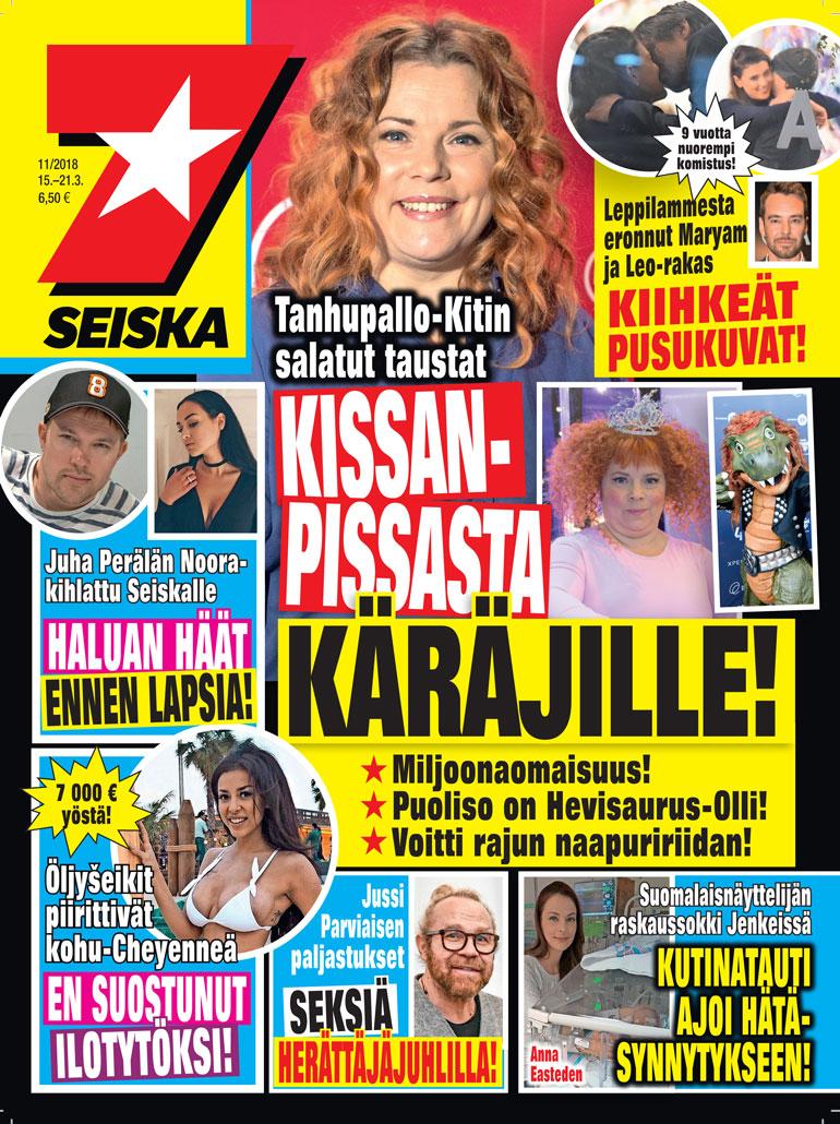 Kiti Kokkonen uuden Seiskan kannessa.