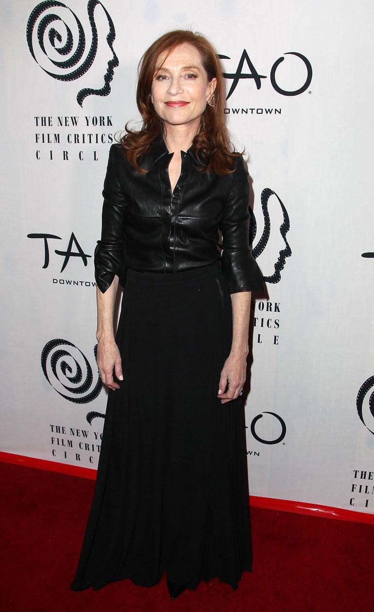 Isabelle Huppert New Yorkissa tammikuussa 2017