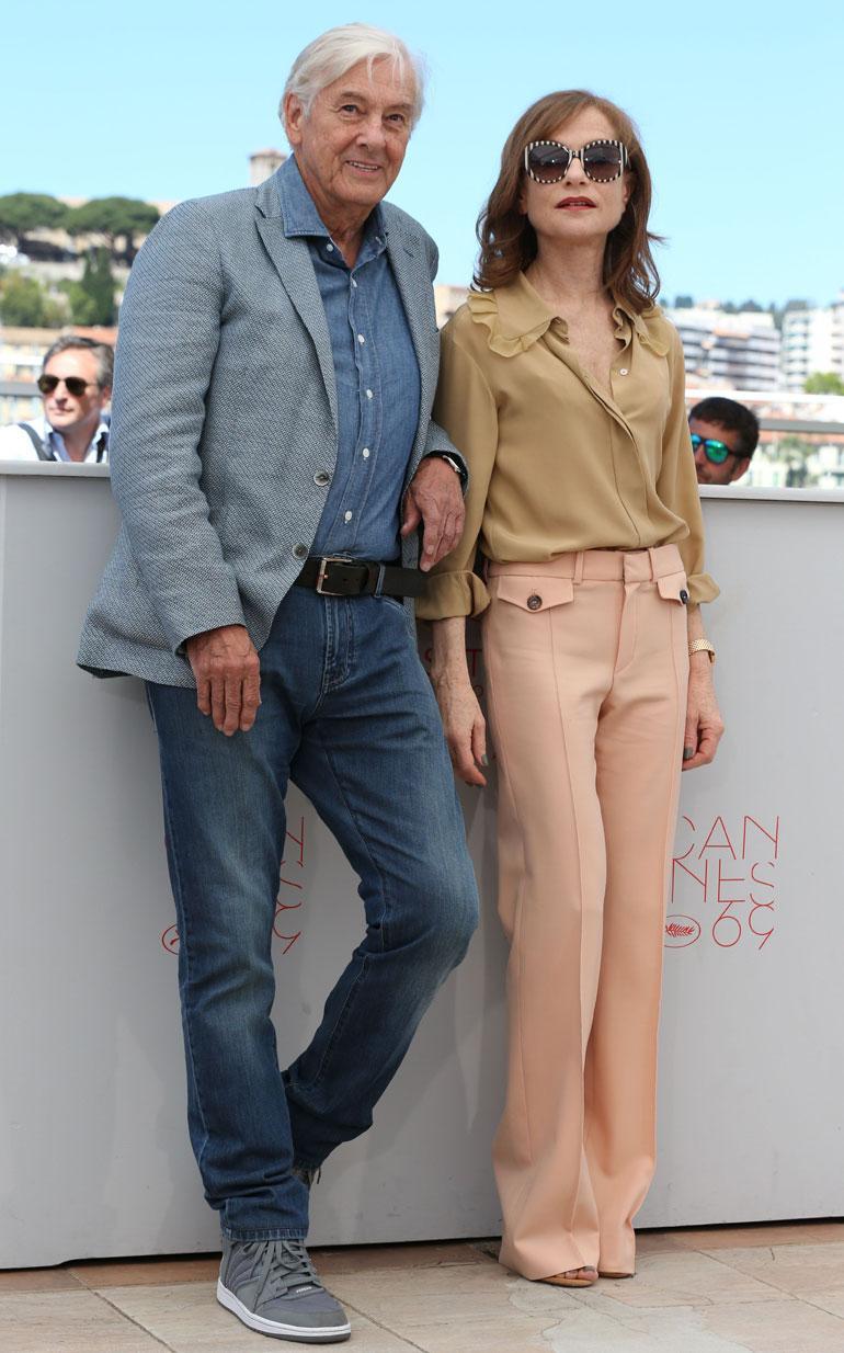 Isabelle Huppert ja Paul Verhoeven Cannesissa toukokuussa 2016