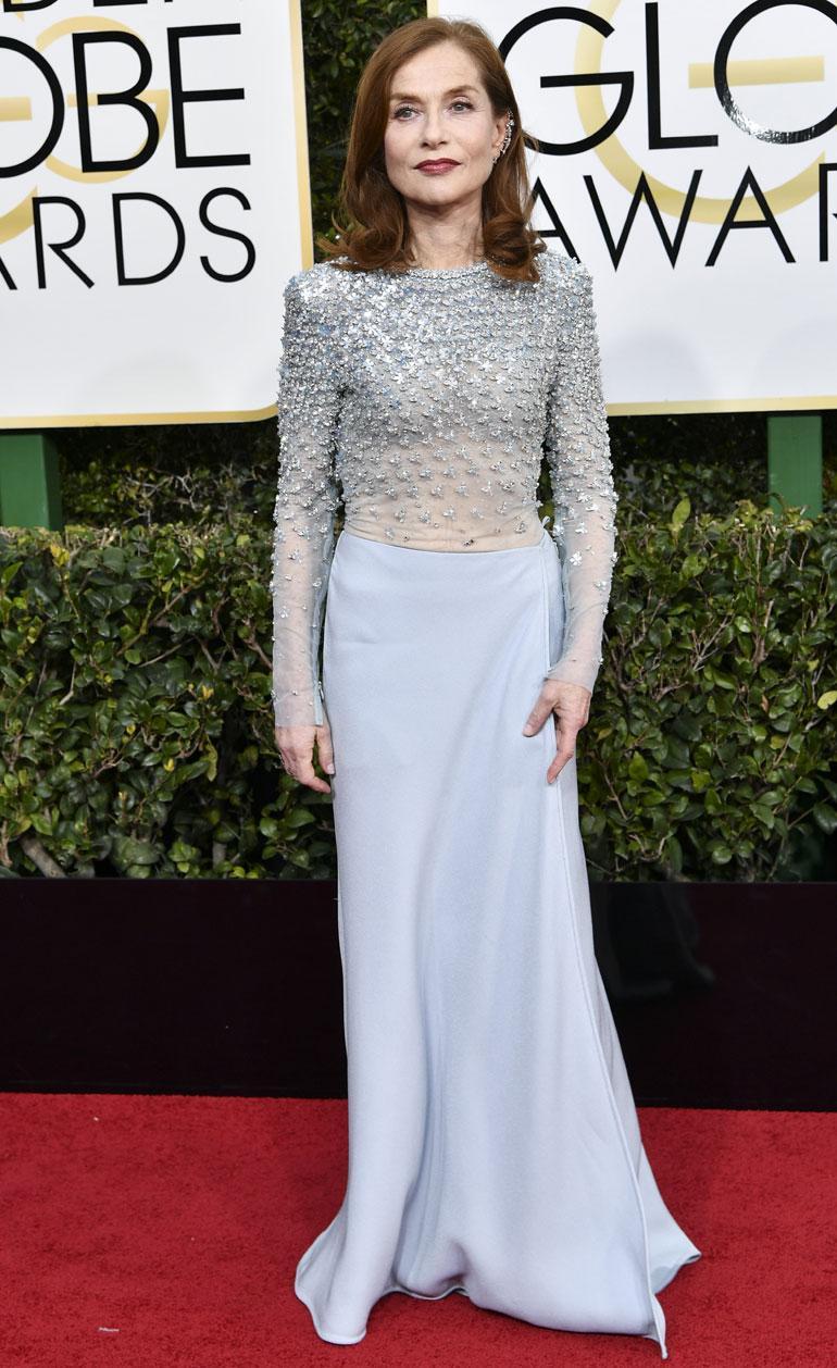 Ranskalaisnäyttelijä Isabelle Huppert, 63, nappasi Elle-elokuvalla parhaan naispääosan pystin Golden Globen draamaelokuvasarjassa.