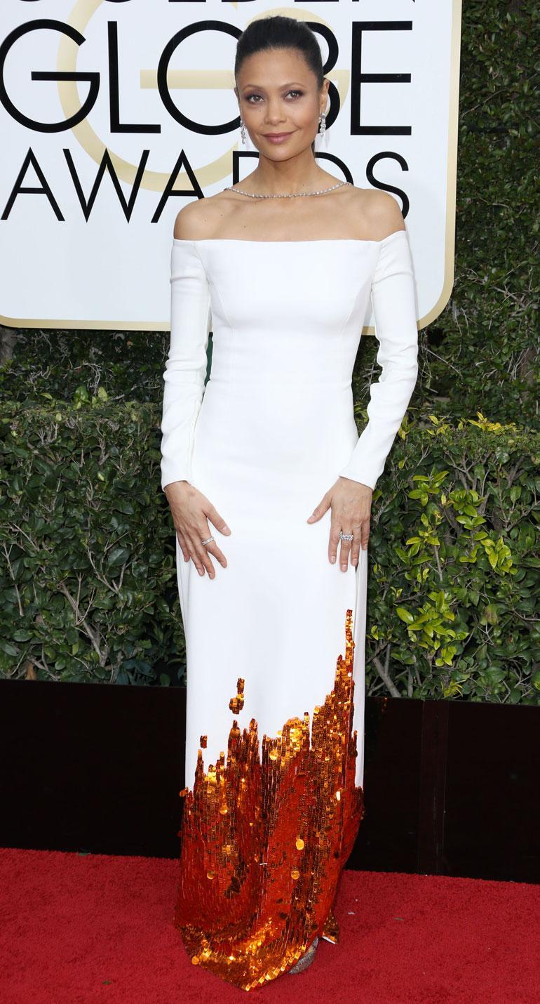 Näyttelijä Thandie Newtonin, 44, Monsen puku käänsi myös päitä.