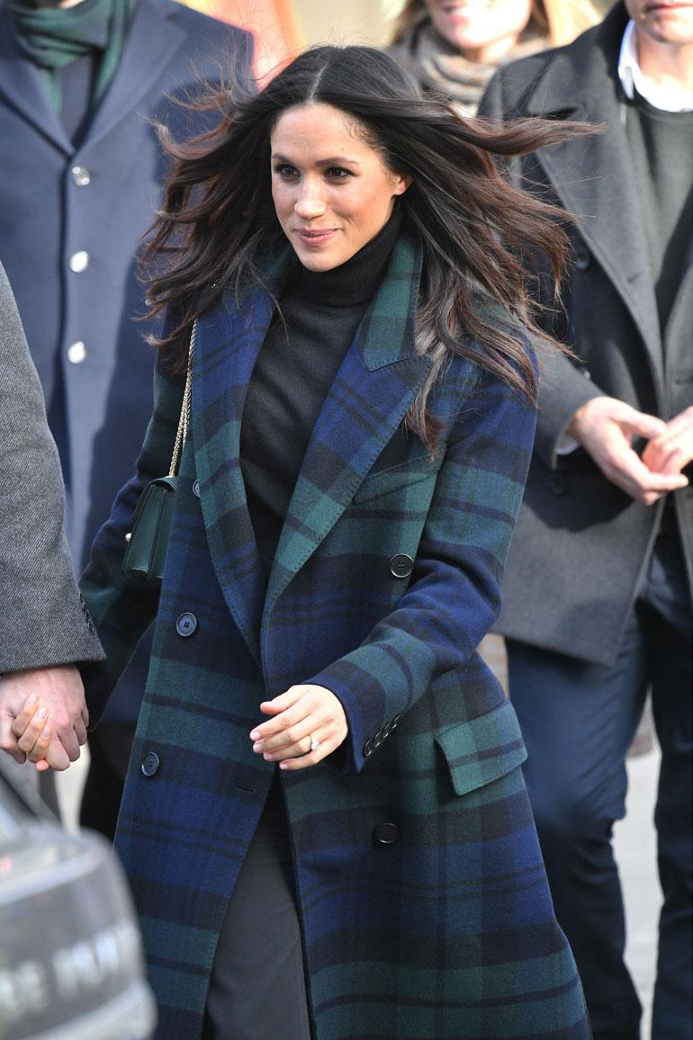 Helmikuussa (13.2.) Meghan pukeutui Edinburghin vierailullaan ruutuun.